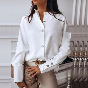 Elegant White Blouse Shirt Women's Long Sleeve Buttton Womens Tops and Blouses Solid Spring 2020 New Ladies Tops Female Tunic - Y O L O Fashion Store