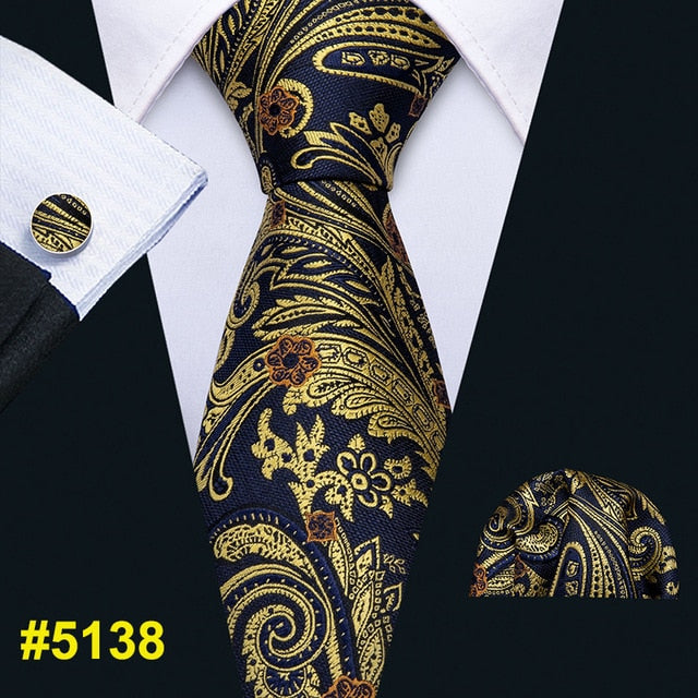 Mens Wedding Tie Gold Paisley Silk Tie Hanky Set Barry.Wang 8.5cm Fashion Designer Neck Ties For Men Party Dropshipping FA-5150