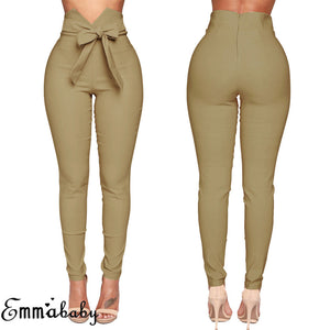 Fashion Women High Waist Casual Pants Fashion Ladies Bowknot Long Slim Skinny Pants Bandage Elastic Pencil Trousers With Sashes - Y O L O Fashion Store