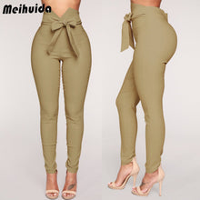Load image into Gallery viewer, Fashion Women High Waist Casual Pants Fashion Ladies Bowknot Long Slim Skinny Pants Bandage Elastic Pencil Trousers With Sashes - Y O L O Fashion Store