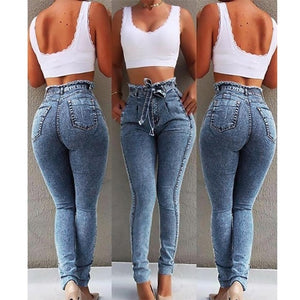High Waist Jeans For Women Slim Stretch Denim Jean Bodycon Tassel Belt Bandage Skinny Push Up Jeans Woman #1217