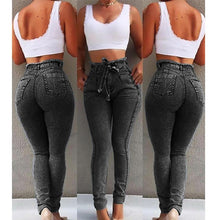 Load image into Gallery viewer, High Waist Jeans For Women Slim Stretch Denim Jean Bodycon Tassel Belt Bandage Skinny Push Up Jeans Woman #1217
