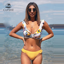 Load image into Gallery viewer, CUPSHE Ruffled Floral Wrap V-neck Bikini Sets Sexy Lace Up Bikinis Swimsuit Two Pieces Swimwear Women 2020 Beach Bathing Suit - Y O L O Fashion Store