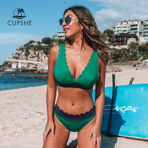 CUPSHE Green and Navy Scalloped Bikini Sets Sexy V-neck Swimsuit Two Pieces Swimwear Women 2020 Beach Bathing Suits Biquinis - Y O L O Fashion Store