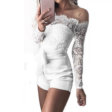 Load image into Gallery viewer, Sexy Off Shoulder Lace White Playsuits Women Bodycon Long Sleeve Jumpsuit Bodysuit Ladies Overalls Shorts Rompers - Y O L O Fashion Store