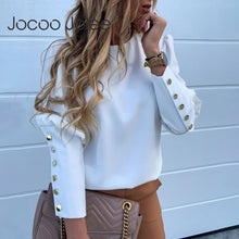 Load image into Gallery viewer, Jocoo Jolee Women Metal Buttons Long Sleeve Blouse Office Lady Shirt Casual Pineapple Print Tops Plus Size Casual Loose Blouses - Y O L O Fashion Store