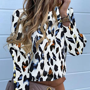 Jocoo Jolee Women Metal Buttons Long Sleeve Blouse Office Lady Shirt Casual Pineapple Print Tops Plus Size Casual Loose Blouses - Y O L O Fashion Store