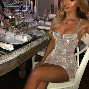 Women Sexy 2020 V Cut Neck Silver Sequined Mini Dress Bodycon Sleeveless Evening Party Sequins Strappy Multiway Dresses - Y O L O Fashion Store