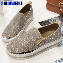 Load image into Gallery viewer, Women Sneakers Slip on Fashion Platform Flats for Lady Spring Autumn Summer Loafers Rhinestone BlingBling Casual Shoes g229 - Y O L O Fashion Store