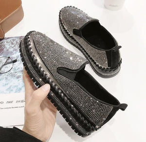 Women Sneakers Slip on Fashion Platform Flats for Lady Spring Autumn Summer Loafers Rhinestone BlingBling Casual Shoes g229 - Y O L O Fashion Store