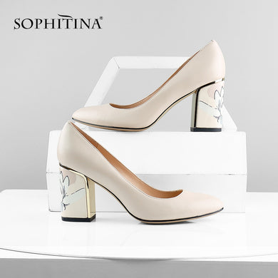 SOPHITINA Party Women's Pumps Comfortable Unique Print Design Square Heel High Quality Genuine Leather Shoes Shallow Pumps PC605