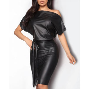 Meihuida Women Wet Look Belt Off Shoulder PU Leather Skinny Batwing Long Sleeve Black Dress
