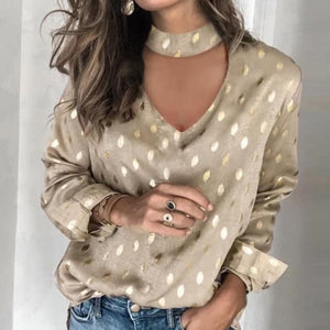 Sexy Off Shoulder Floral Leopard Print Blouse Women Shirts Autumn Lantern Long Sleeve Tops Spring Halter Backless Ladies Blouses - Y O L O Fashion Store