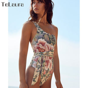 2020 Sexy One Piece Swimsuit Women Swimwear Push Up Monokini Print Bandage One shoulder Bathing Suit Bodysuit Beach Wear Female