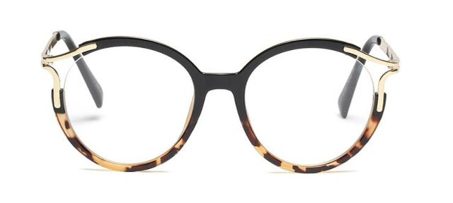 45103 Lady Metal Hollow Round Glasses Frames For Women Cat Eye Brand Designer Optical EyeGlasses Fashion Eyewear
