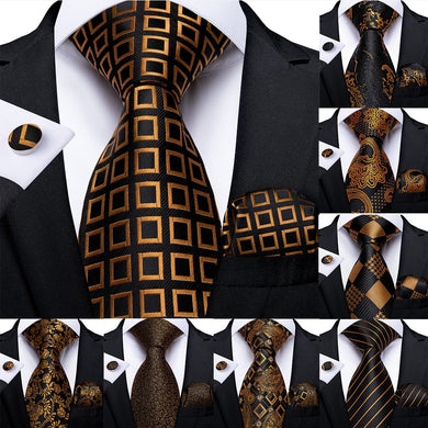DiBanGu Gift Men Tie Gold Black Plaid Silk Wedding Tie For Men Paisley Design Hanky Cufflink Quality Men Tie Set Dropshipping