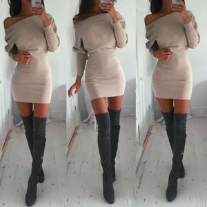 Stylish Women dress casual Off Shoulder khaki solid Long Sleeve Party cotton Bodycon Mini Dresses - Y O L O Fashion Store
