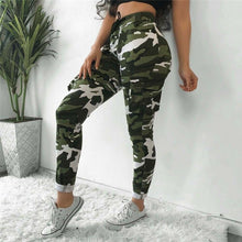 Load image into Gallery viewer, 2020 Women Pants Summer Stretch Drawsting Army Camo Camouflage Skinny Cargo Pants Trousers Women Pocket High Waist Trousers - Y O L O Fashion Store