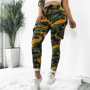 2020 Women Pants Summer Stretch Drawsting Army Camo Camouflage Skinny Cargo Pants Trousers Women Pocket High Waist Trousers - Y O L O Fashion Store