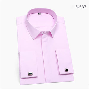 France Cufflinks men business tuxedo Shirts Square collar long sleeve Covered Button Plain solid social formal shirt - Y O L O Fashion Store