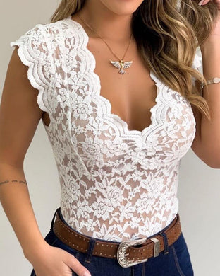 2020 Fashion Women Casual Sleeveless Bodysuit V Neck Lace Shirt Sexy Sheer Mesh Lace Sleeveless Blouse - Y O L O Fashion Store