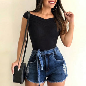 Sexy Jeans Shorts Women Vintage 2019 Summer Hole Destroyed Shorts Ladies Mini Denim Short Feminino Casual Woman Jeans Shorts D30