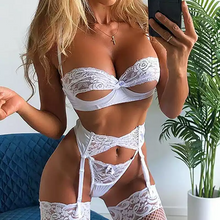 Load image into Gallery viewer, Sexy Lingerie Porn Sexy Bra Set +garter Erotic Underwear Lace Lingerie Bra With Garter Set Babydoll Sleepwear Lingerie Set Women - Y O L O Fashion Store