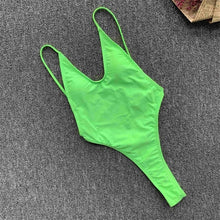 Load image into Gallery viewer, 2020 Sexy Backless Thong One Piece Swimsuit Female Bather Women Swimwear High Cut Bathing Suit Swim Beach Lady Monokini V1574 - Y O L O Fashion Store