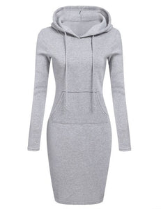 High Quality 2019 New Hot Sale Fashion Women's Casual Style Hooded Hoodie Long Sleeve Sweater Pocket Bodycon Tunic Dress Top - Y O L O Fashion Store