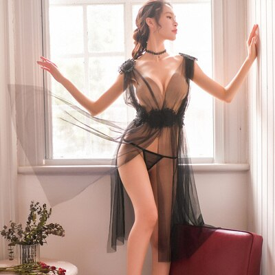 New womans Sexy Lingerie Net Gauze Lace Embroidery Sheer Long Night Dress Nightgowns Sleep wear Nightdress Set 5colors