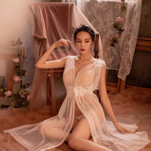 Load image into Gallery viewer, New womans Sexy Lingerie Net Gauze Lace Embroidery Sheer Long Night Dress Nightgowns Sleep wear Nightdress Set 5colors