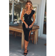 Load image into Gallery viewer, Women's Lady Formal Dresses Bandage Bodycon Sleeveless One Shoulder Ruffle Side Slit Solid Party Club Mini Dress Women Clothing - Y O L O Fashion Store