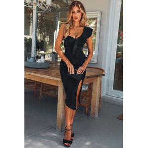 Women's Lady Formal Dresses Bandage Bodycon Sleeveless One Shoulder Ruffle Side Slit Solid Party Club Mini Dress Women Clothing - Y O L O Fashion Store