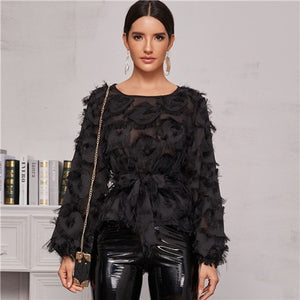 SHEIN Black Round Neck Sheer Elegant Blouse With Belt Women Spring Long Sleeve High Street Ladies Glamorous Blouses And Tops