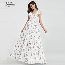 Load image into Gallery viewer, Sexy Floral Printed Maxi Dress Women A-Line One-Shoulder Ruffles Side Split New Fashion Beach Dress Ladies Casual Streetwear - Y O L O Fashion Store