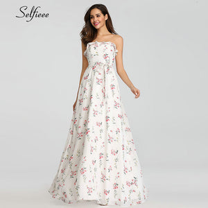 Sexy Floral Printed Maxi Dress Women A-Line One-Shoulder Ruffles Side Split New Fashion Beach Dress Ladies Casual Streetwear - Y O L O Fashion Store