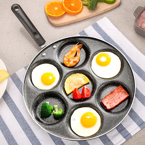 7 Holes Egg Frying Pan Omelet Cooker Griddle Pan Nonstick Silver Dollar Pancake Maker Coating Cookware With Induction Bottom