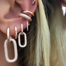 Load image into Gallery viewer, geoemtric dangling charm earring silver rose gold color iced out 5A cz link chain drop earring for women