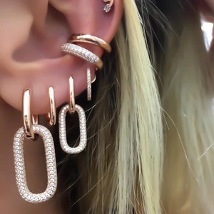 geoemtric dangling charm earring silver rose gold color iced out 5A cz link chain drop earring for women