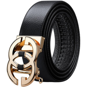 WilliamPolo full-grain leather Brand Belt Men Top Quality Genuine Luxury Leather Belts for Men Strap Male Metal Automatic Buckle - Y O L O Fashion Store