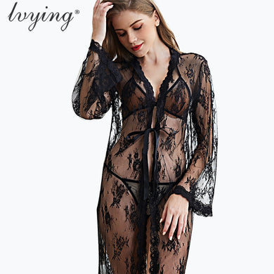 Sexy Lace Bathrobe Female Lingerie Robe Set Women Pyjamas Bra Set Night Dress Sleepwear Bath Robe Nightwear Nightgown Nighty - Y O L O Fashion Store