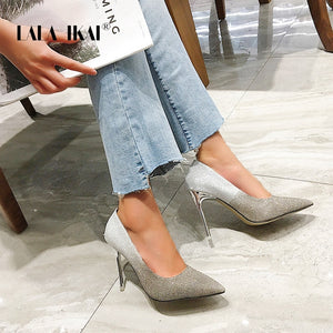 LALA IKAI Women Stiletto Pointed Heels Pumps Autumn 2020 New Korean Version Of The Shallow Mouth Gradient Wild Shoes XWC6795-4