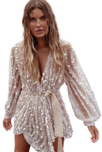Load image into Gallery viewer, Gold/Apricot Sequin Surpliced Wrap Deep V Neck Party Mini Dress Women 2020 Spring Party Elegant Ladies Evening Party Dresses 2XL - Y O L O Fashion Store