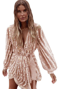 Gold/Apricot Sequin Surpliced Wrap Deep V Neck Party Mini Dress Women 2020 Spring Party Elegant Ladies Evening Party Dresses 2XL - Y O L O Fashion Store