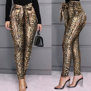 2020 Women PU Leather Pants Women Trousers Push Up High Waist Skinny Pants Pencil Spring Snake Skin Sexy Pants Female - Y O L O Fashion Store