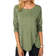 Load image into Gallery viewer, Irregular Casual Shirts Women Long Sleeved Button Tshirts O-Neck Plus Size 5XL Female Solid Color Clothing Tops Free Shipping
