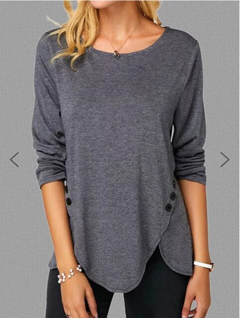 Irregular Casual Shirts Women Long Sleeved Button Tshirts O-Neck Plus Size 5XL Female Solid Color Clothing Tops Free Shipping