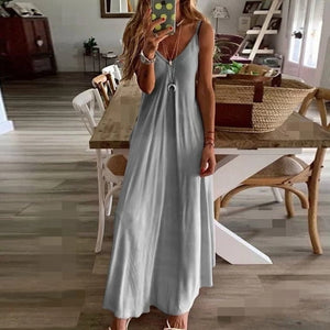 2020 Women Casual Loose Strap Dress Colors Summer Sexy Boho Bow Camis Befree Maxi Dress Plus Sizes Big Large Dresses Robe Femme - Y O L O Fashion Store
