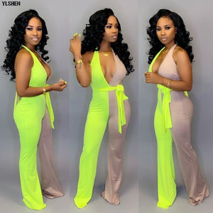 2019 Summer Jumpsuit for Women Plus Size Sexy Backles Long Pants Neon Green Jumpsuits Ladies Elegant Overalls Bodysuit Clothes - Y O L O Fashion Store