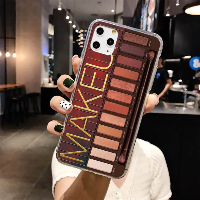 Makeup Eyeshadow Palette Phone Case For iPhone 11Pro Max XR XS Max matte Soft Silicone Cover For iPhone 7 8 6S Plus 8Plus 7Plus